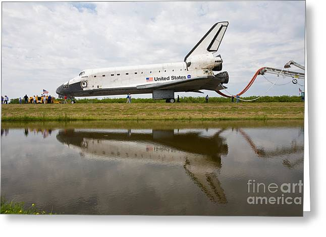 Us History Greeting Cards - Space Shuttle Atlantis Final Mission Greeting Card by Chris Cook
