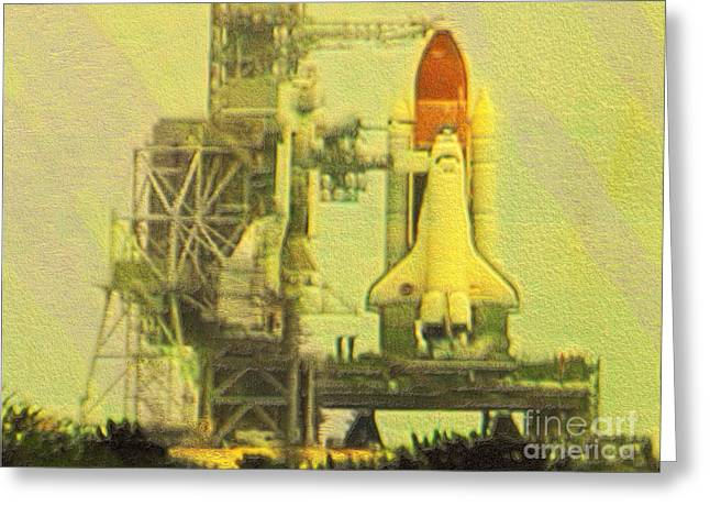 Outerspace Greeting Cards - Space Shuttle Atlantis Final mission photoart Greeting Card by Debbie Portwood