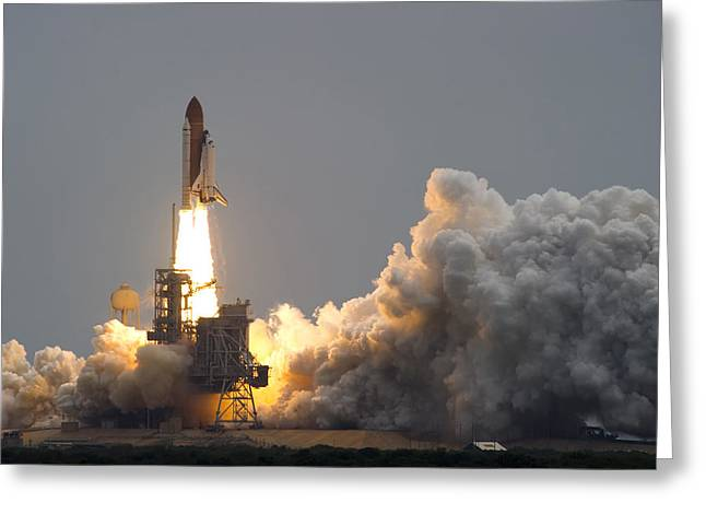 Blastoff Greeting Cards - Space Shuttle Atlantis Greeting Card by Mountain Dreams