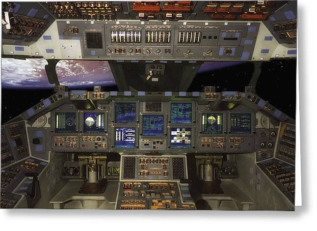 Control Room Greeting Cards - Space Shuttle Cockpit Greeting Card by Mountain Dreams