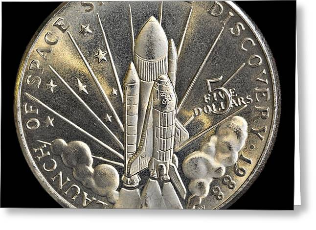Energy Currency Greeting Cards - Space Shuttle Discovery Launch Commemorative Coin Greeting Card by Kerry Gergen