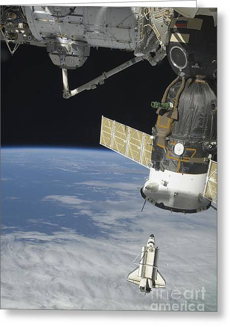 Travel Agency Greeting Cards - Space Shuttle Endeavour, A Soyuz Greeting Card by Stocktrek Images