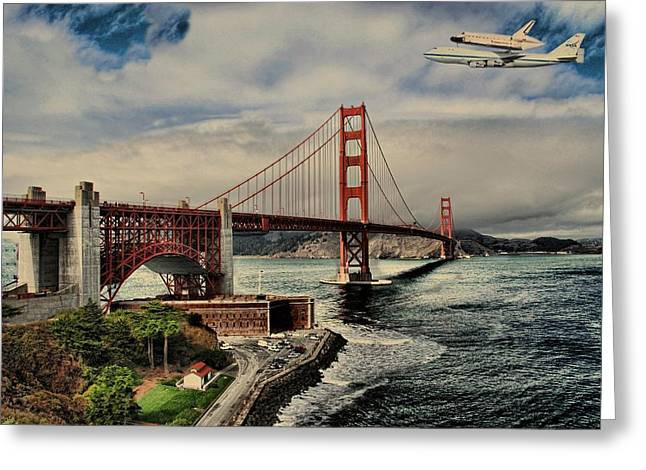 Historic Home Greeting Cards - Space Shuttle Endeavour Over Golden Gate Bridge Greeting Card by Movie Poster Prints