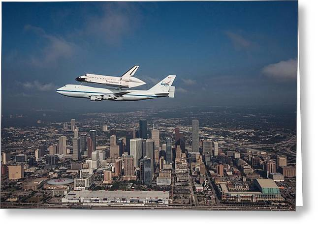 Nasa Space Shuttle Greeting Cards - Space Shuttle Endeavour Over Houston Texas Greeting Card by Movie Poster Prints