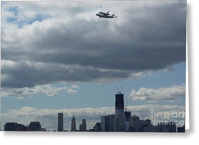 Space Shuttle Enterprise flys over NYC Greeting Card by Steven Spak
