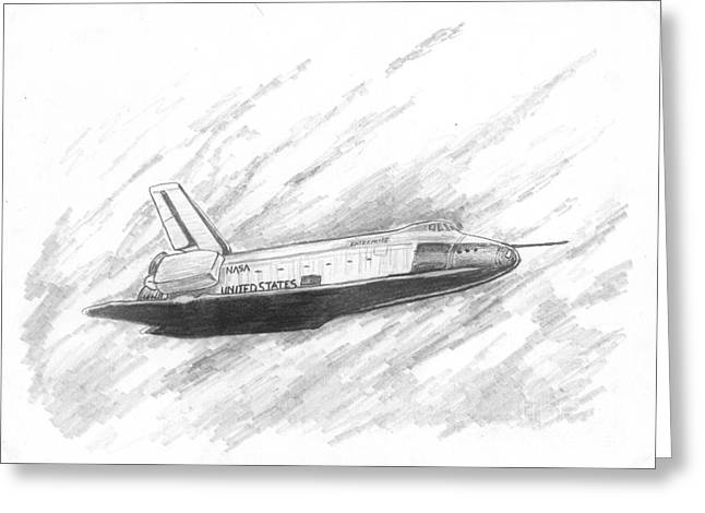 Enterprise Drawings Greeting Cards - Space Shuttle Enterprise Greeting Card by Michael Penny