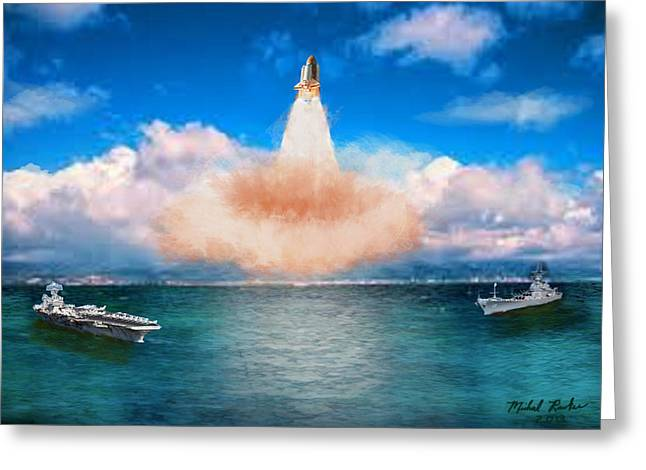Houston Rockets Digital Greeting Cards - Space Shuttle Launch Greeting Card by Michael Rucker