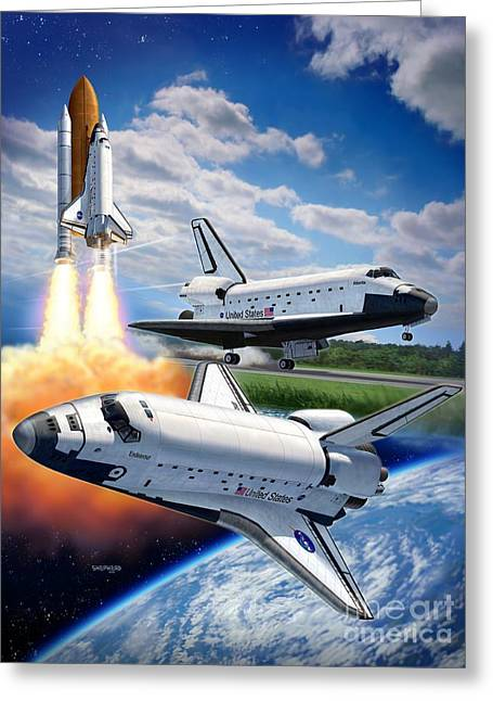 Nasa Space Shuttle Greeting Cards - Space Shuttle Montage Greeting Card by Stu Shepherd