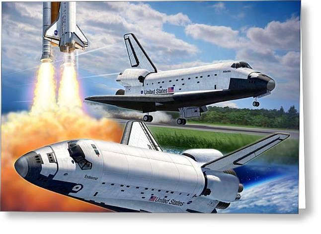 Space Shuttle Montage Greeting Card by Stu Shepherd