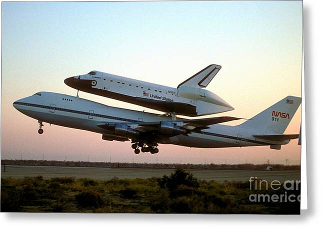 747 Greeting Cards - Space Shuttle On 747 Greeting Card by Novastock