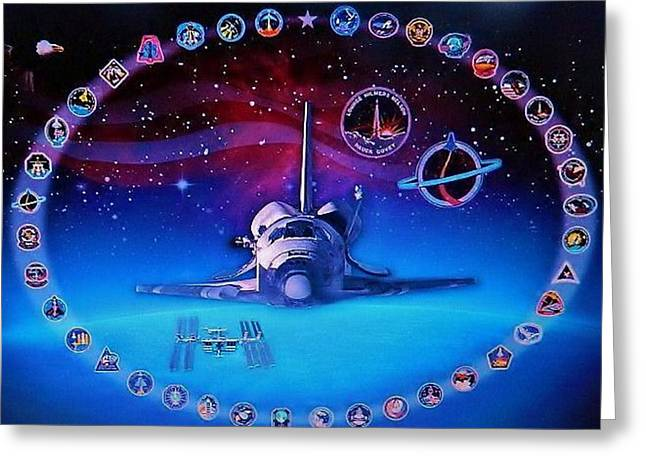 Space Shuttle Mixed Media Greeting Cards - Space Shuttle Poster Greeting Card by Gunter  Hortz