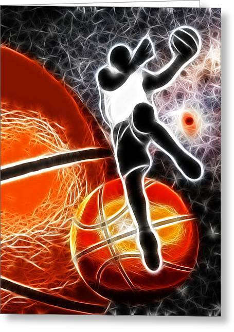 Basketball Abstract Greeting Cards - Space Slam  Greeting Card by David G Paul