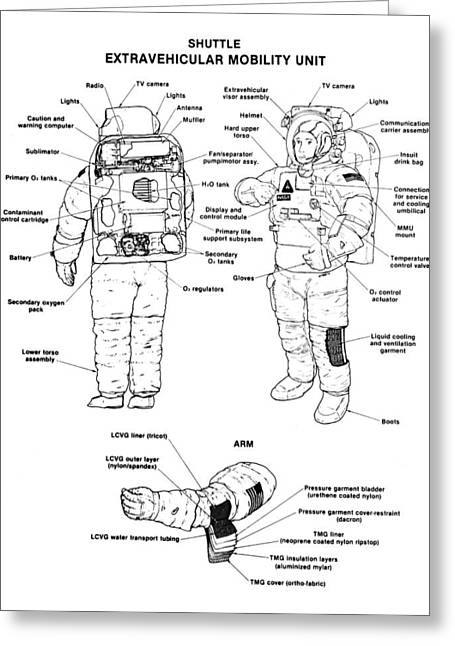 Nasa Space Shuttle Greeting Cards - Space: Spacesuit, 1991 Greeting Card by Granger