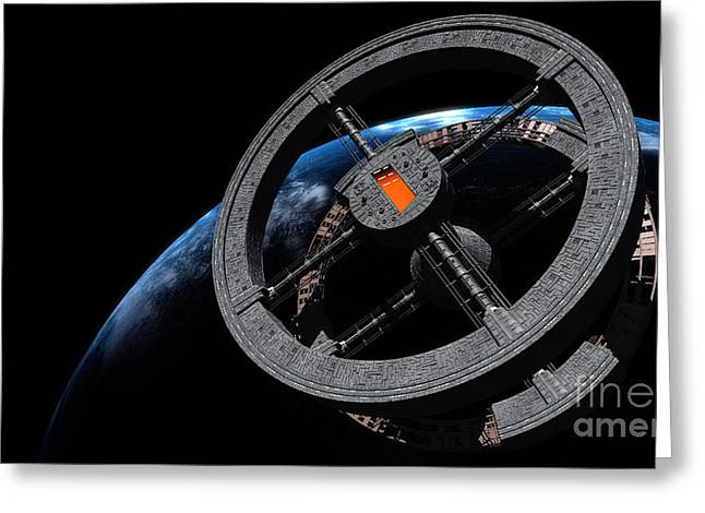 Copy Machine Digital Art Greeting Cards - Space Station 5 In Earth Orbit Greeting Card by Rhys Taylor