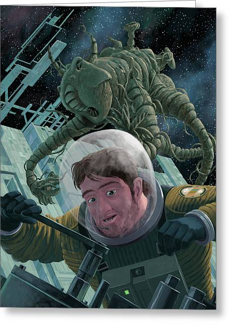 Bug Eyed Monster Greeting Cards - Space Station Monster Greeting Card by Martin Davey