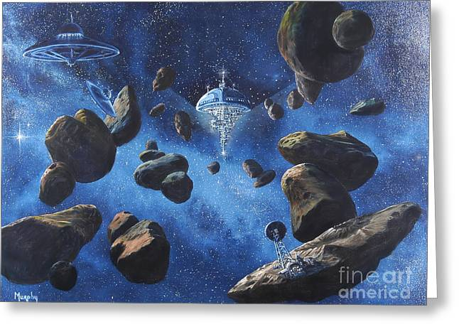 Outer Space Paintings Greeting Cards - Space Station Outpost Twelve Greeting Card by Murphy Elliott