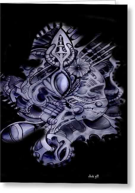 Tattoo Flash Greeting Cards - Space statue Greeting Card by Chris Gill