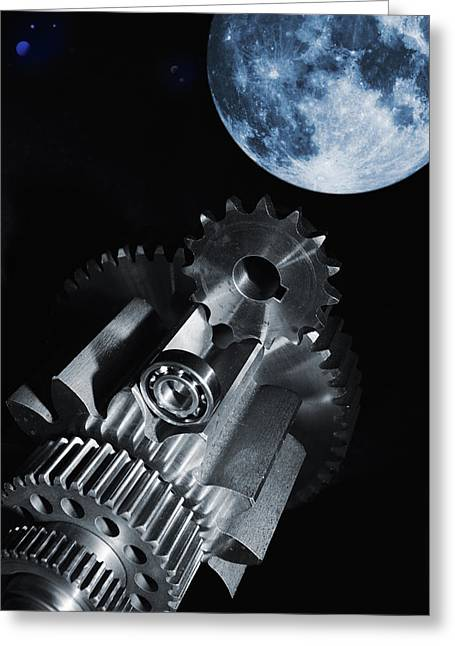 Stainless Steel Greeting Cards - Space Technology And Fantasy Greeting Card by Christian Lagereek