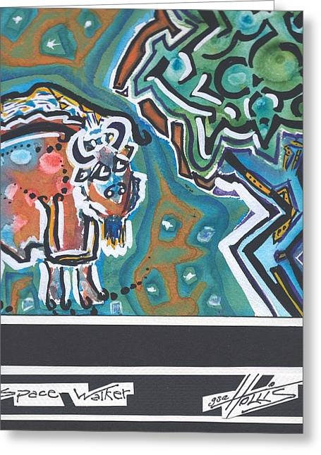 Fauvist Style Greeting Cards - Space Walker Buffalo Greeting Card by Gayla Abel Hollis