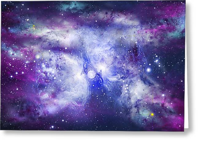 Glowing Mixed Media Greeting Cards - Space009 Greeting Card by Svetlana Sewell
