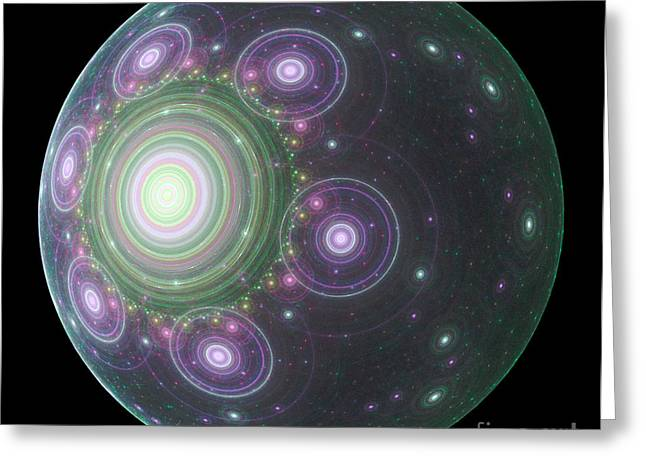 Fractal Orbs Greeting Cards - SpaceBall Greeting Card by Terry Weaver