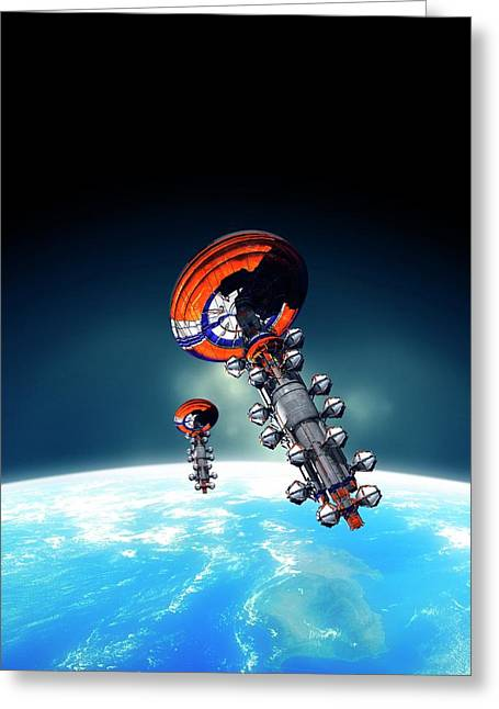 Spacecraft In Earth Orbit Greeting Card by Victor Habbick Visions