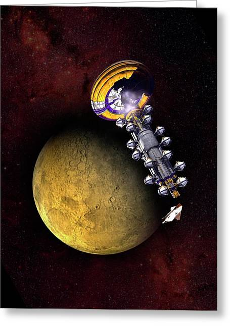 Spacecraft In Mars' Orbit Greeting Card by Victor Habbick Visions