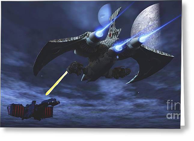 Starfighter Greeting Cards - Spaceship Blasts A Laser Beam Toward An Greeting Card by Corey Ford