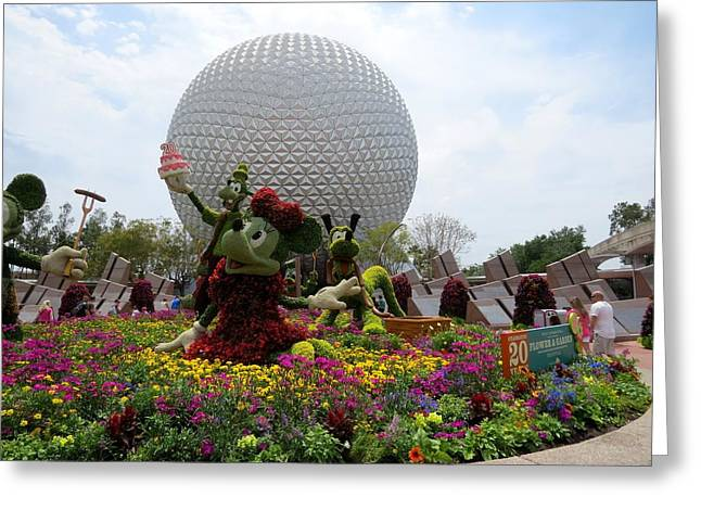 Walt Disney Boardwalk Greeting Cards - Spaceship Earth And Flower Garden Greeting Card by Zina Stromberg