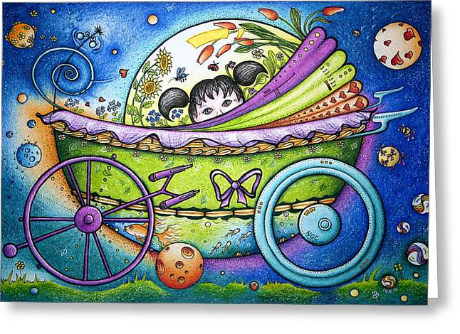 Helix Drawings Greeting Cards - Spaceship Greeting Card by Ida  Novotna