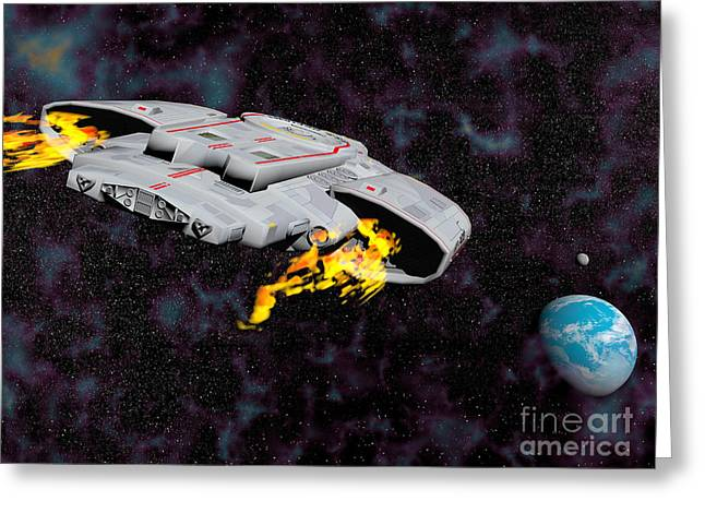 Interstellar Space Digital Art Greeting Cards - Spaceship With Afterburners Engaged Greeting Card by Elena Duvernay