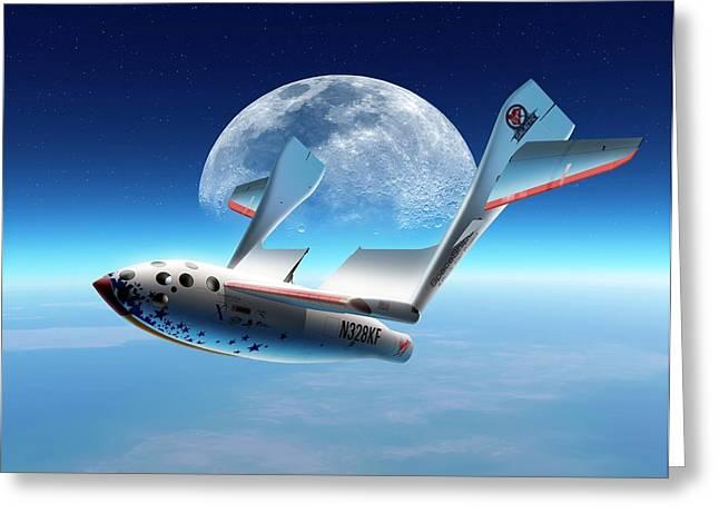 Spaceshipone In Orbit Greeting Card by Detlev Van Ravenswaay