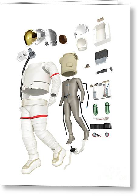 Disassembled Greeting Cards - Spacesuit, Exploded View Greeting Card by Nikid Design Ltd / Dorling Kindersley