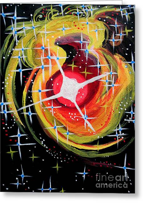 Outer Space Paintings Greeting Cards - Spacial Winds Greeting Card by Renee Boyett