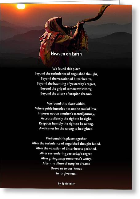 Forgiveness Digital Art Greeting Cards - Spadecallers Heaven on Earth Poster Greeting Card by Spadecaller