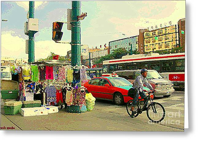 Spadina Street Vendor Chinatown Cyclists Cable Cars And Cabs Cityscapes Toronto Art Carole Spandau Greeting Card by Carole Spandau