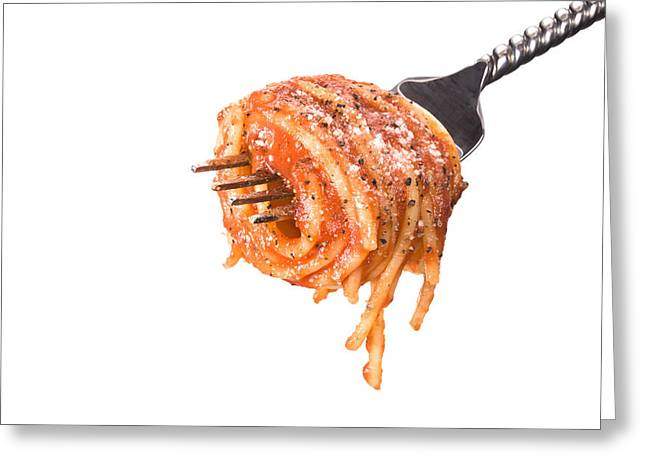 Spaghetti Greeting Cards - Spagetti wrapped around fork Greeting Card by Joe Belanger