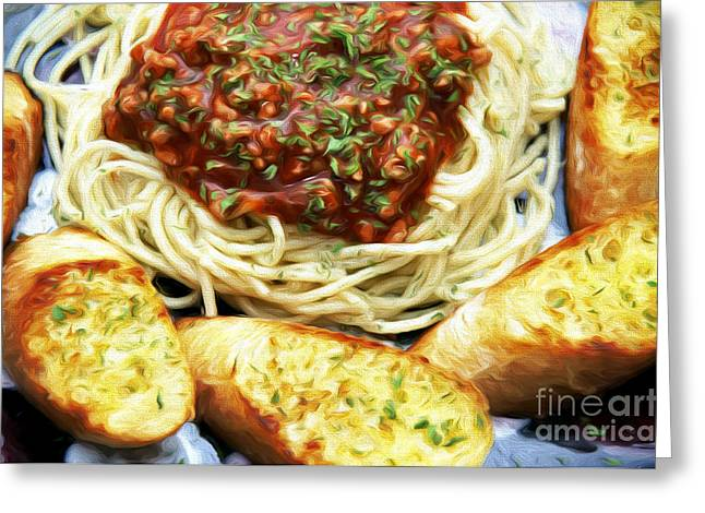 Spaghetti Greeting Cards - Spaghetti And Garlic Toast 4 Greeting Card by Andee Design