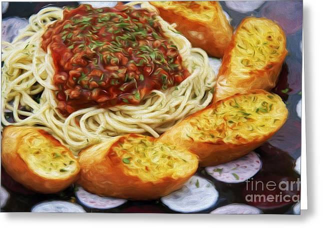 Spaghetti Greeting Cards - Spaghetti And Garlic Toast 6 Greeting Card by Andee Design