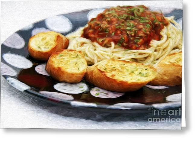 Spaghetti Greeting Cards - Spaghetti And Garlic Toast 2 Greeting Card by Andee Design