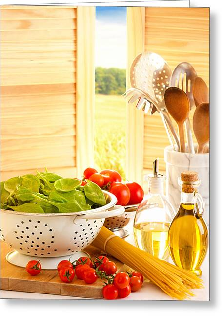 Utensils Greeting Cards - Spaghetti and Tomatoes In Country Kitchen Greeting Card by Amanda And Christopher Elwell
