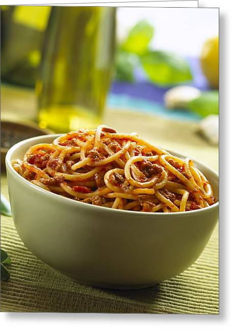 Supper Bowl Greeting Cards - Spaghetti bolognese Greeting Card by Science Photo Library