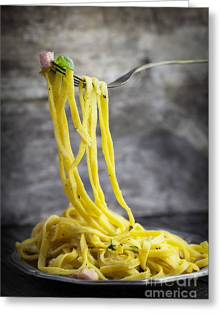 Noodles Greeting Cards - Spaghetti carbonara Greeting Card by Mythja  Photography