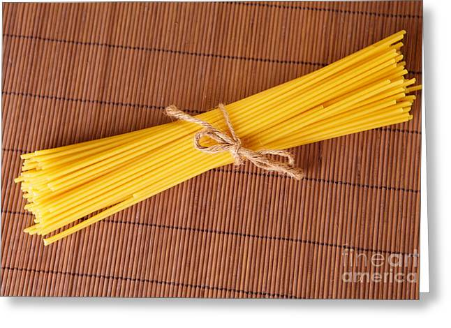 Noodles Greeting Cards - Spaghetti Italian pasta Greeting Card by Monika Wisniewska