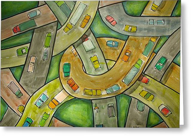 Spaghetti Greeting Cards - Spaghetti Junction Greeting Card by Rhodes Rumsey