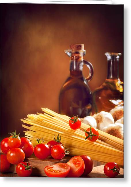Olives Photographs Greeting Cards - Spaghetti Pasta With Tomatoes and Garlic Greeting Card by Amanda And Christopher Elwell