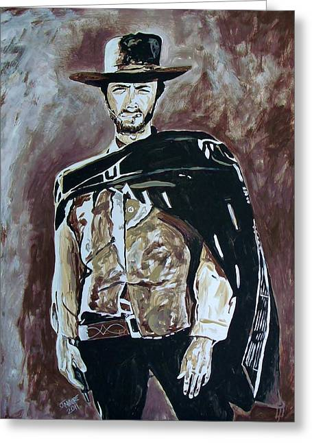 Poncho Paintings Greeting Cards - Spaghetti Western Greeting Card by Jeremy Moore