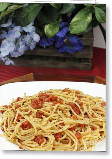 Spaghetti Noodles Greeting Cards - Spaghetti with Tomatoes and Flowers Greeting Card by Lee Serenethos