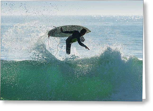 Surf Silhouette Greeting Cards - Spain, Andalusia, Cadiz, Male Surfer Greeting Card by Ben Welsh