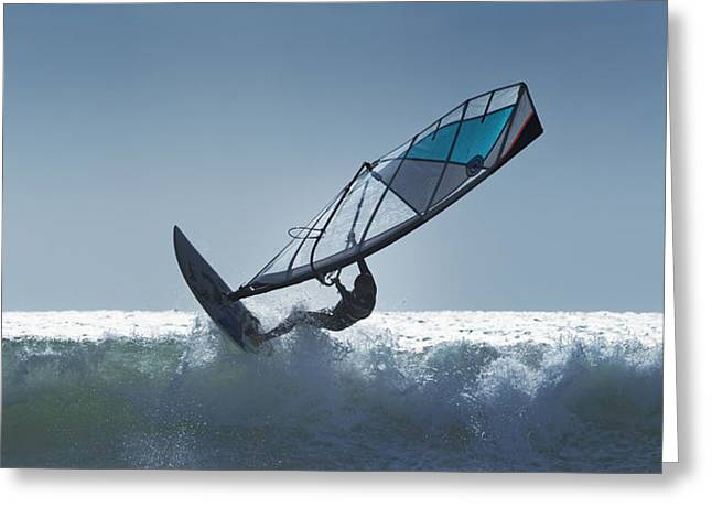 Surf Silhouette Greeting Cards - Spain, Andalusia, Wind Surfing In Cape Greeting Card by Ben Welsh